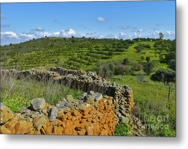 Antique Stone Wall Of An Old Farm Metal Print