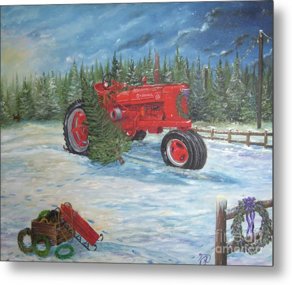 Antique Tractor At The Christmas Tree Farm Metal Print