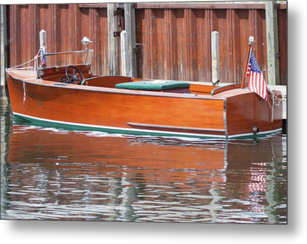 Antique Wooden Boat By Dock 1302 Metal Print