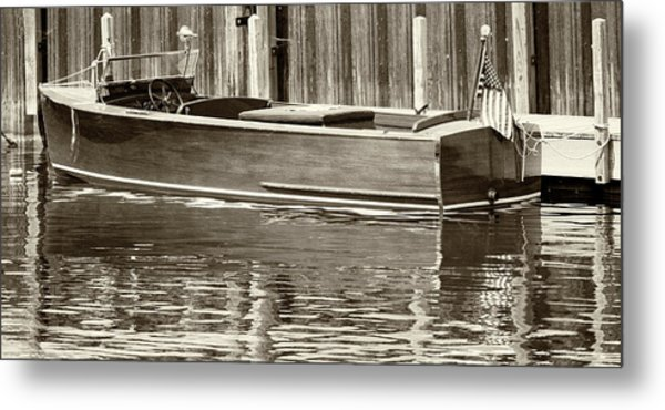 Antique Wooden Boat By Dock Sepia Tone 1302tn Metal Print