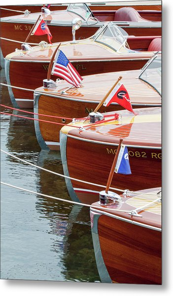 Antique Wooden Boats In A Row Portrait 1301 Metal Print