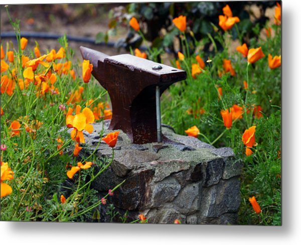 Anvil In The Poppies Metal Print