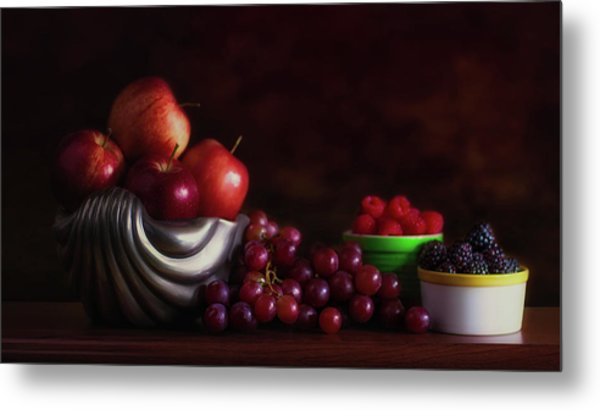 Apples With Grapes And Berries Still Life Metal Print