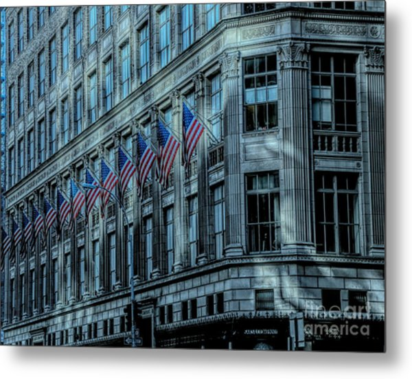 Architecture Nyc American Flags Metal Print