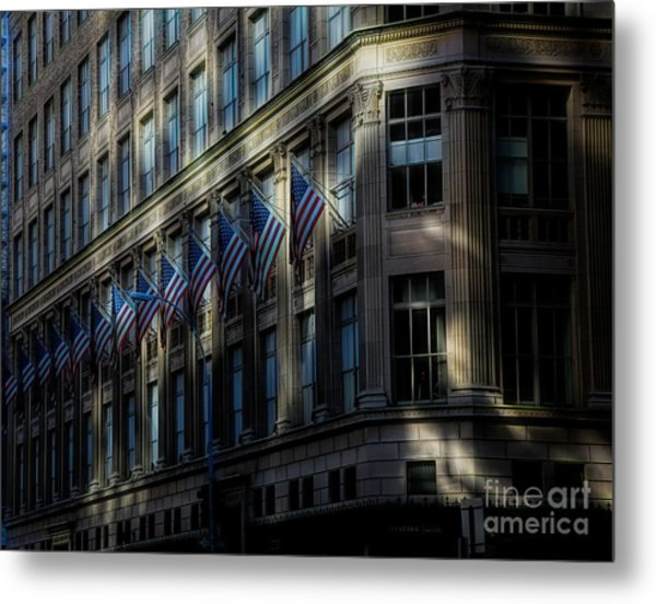 Architecture Nyc Flags Shadows  Metal Print