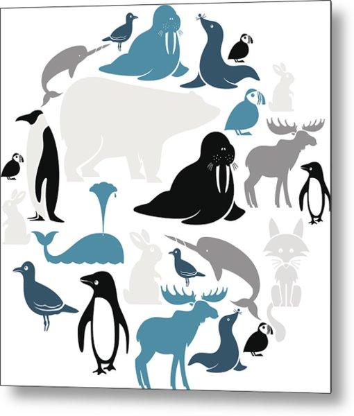 Arctic Animals Icon Set Metal Print by Theresatibbetts