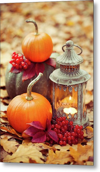 Arrangement With Pumpkins And Lantern Metal Print