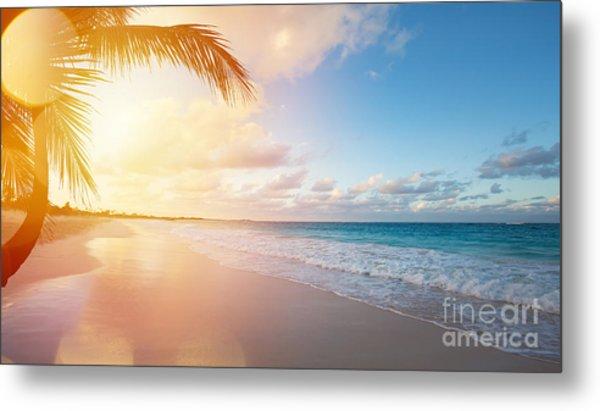 Art Beautiful Sunrise Over The Tropical Metal Print