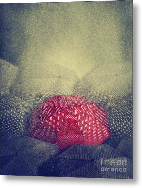 Artistic Image Of Red Umbrella Standing Metal Print