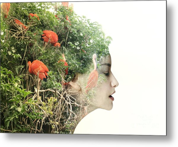 Artistic Surreal Female Profile In A Metal Print