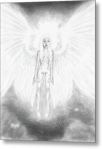 As An Angel She Realized Why - Artwork Metal Print