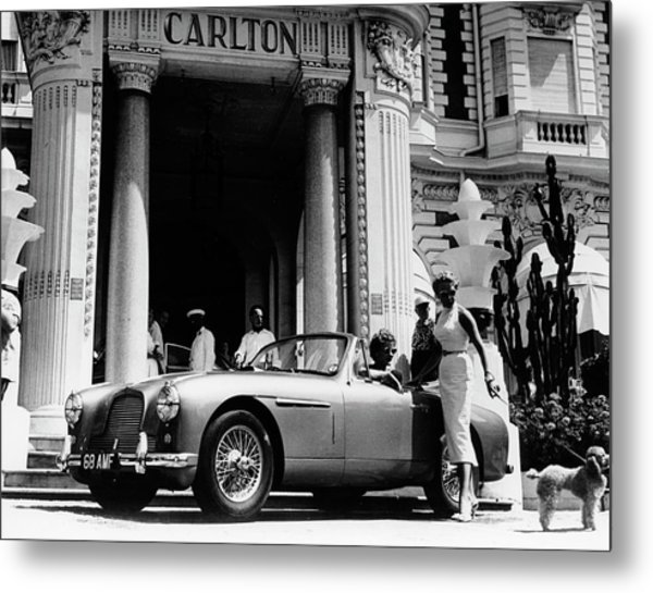 Aston Martin Db2-4 Outside The Hotel Metal Print