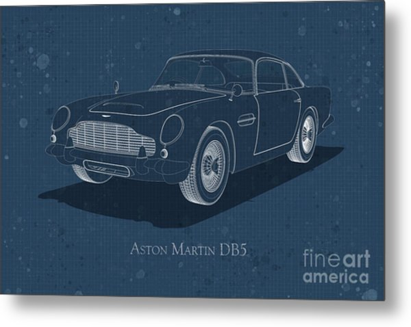 Aston Martin Db5 - Front View - Stained Blueprint Metal Print