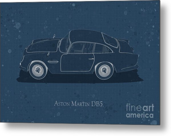 Aston Martin Db5 - Side View - Stained Blueprint Metal Print