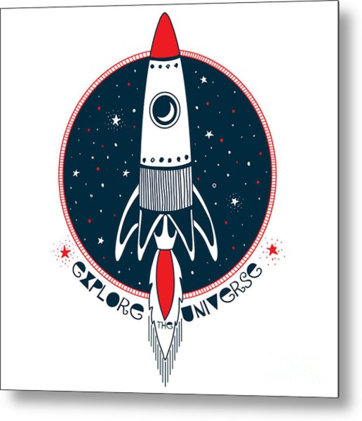 Astronaut Rocket In Outer Space , Kid Metal Print