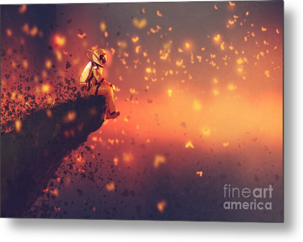 Astronaut Sitting On Cliffs Edge And Metal Print