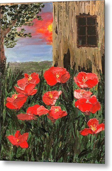 At Sunset By The Old Barn Metal Print