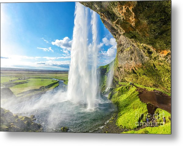 At The Back Of Seljalandsfoss In Iceland Metal Print