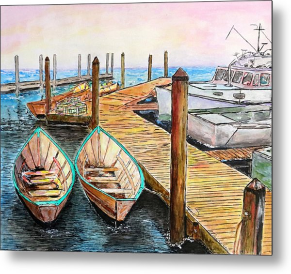 At The Dock In Gloucester Massachusetts Metal Print