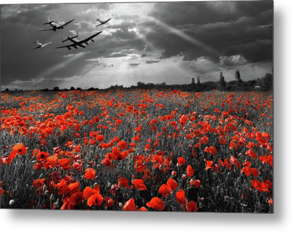 Metal Print featuring the photograph At The Going Down Of The Sun Selective Red Version by Gary Eason