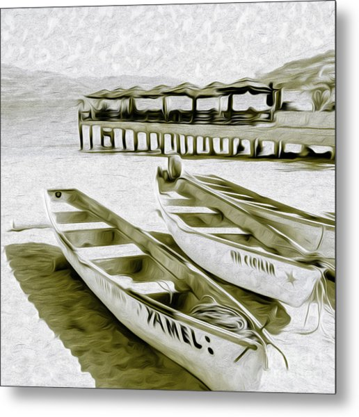 Metal Print featuring the digital art At The Pier In Acapulco Mexico by Kenneth Montgomery