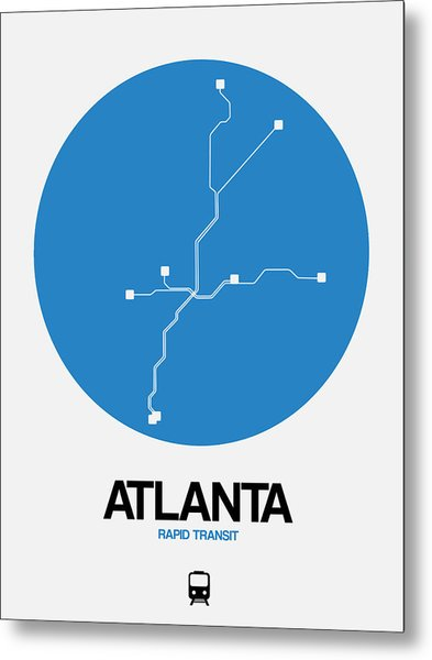 Atlanta Blue Subway Map Metal Print