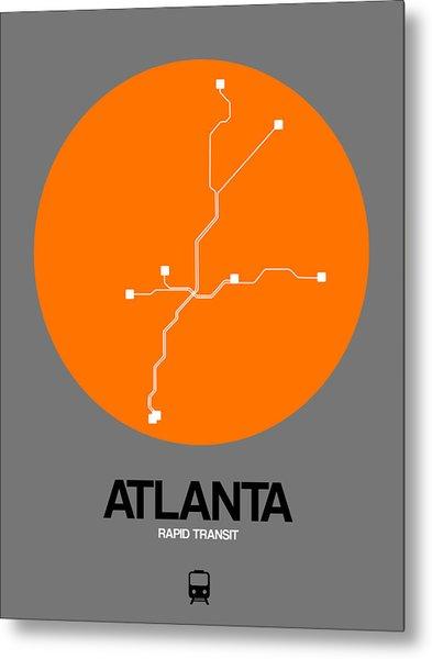 Atlanta Orange Subway Map Metal Print