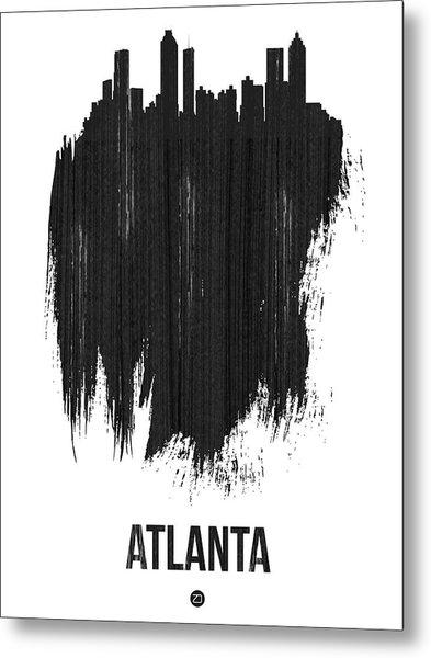 Atlanta Skyline Brush Stroke Black Metal Print