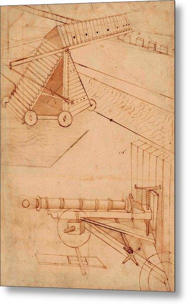 Atlantic Codex - Codex Atlanticus, F 49 Recto Metal Print