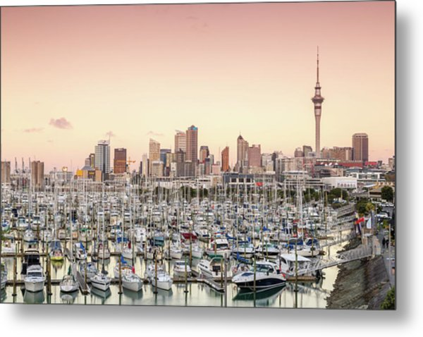 Auckland City And Harbour At Sunset Metal Print by Matteo Colombo