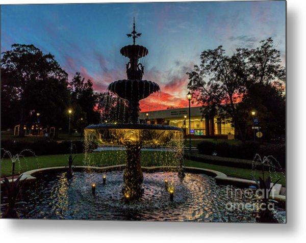 Augusta University Fountain Sunset Ga Metal Print