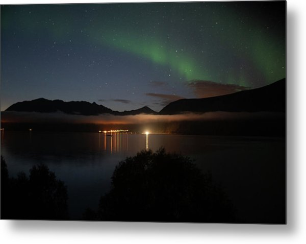 Aurora Northern Polar Light In Night Sky Over Northern Norway Metal Print