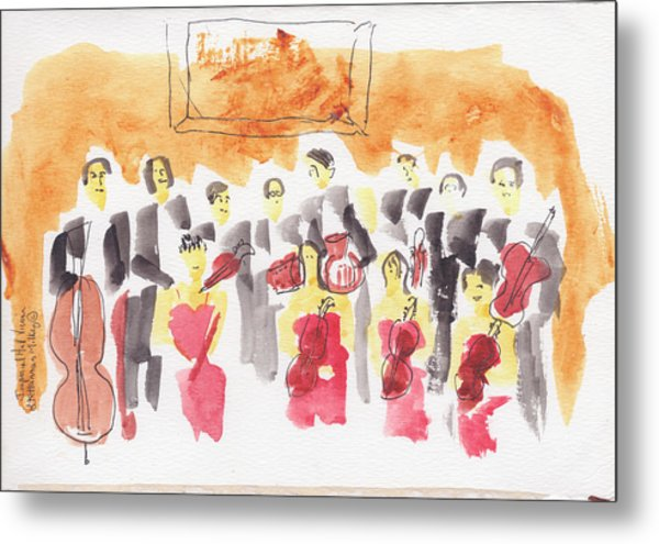 Austria, Vienna, Musicians, Watercolor Metal Print