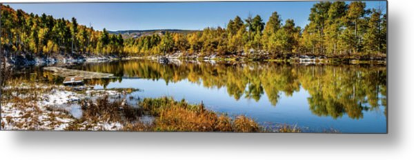 Metal Print featuring the photograph Autumn At Ivie Pond Panoramic by TL Mair