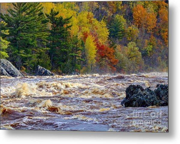 Autumn Colors And Rushing Rapids   Metal Print