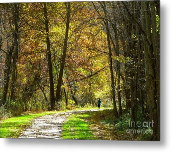 Autumn Jogger Metal Print