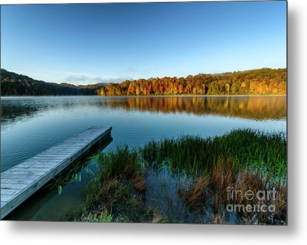 Autumn Morning By The Dock Metal Print