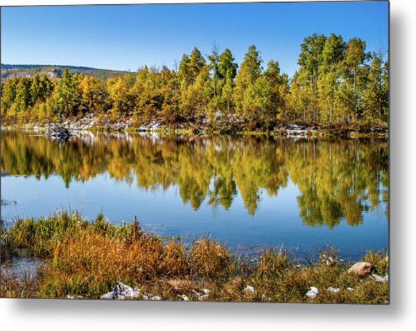 Metal Print featuring the photograph Autumn Reflections At Ivie Pond by TL Mair