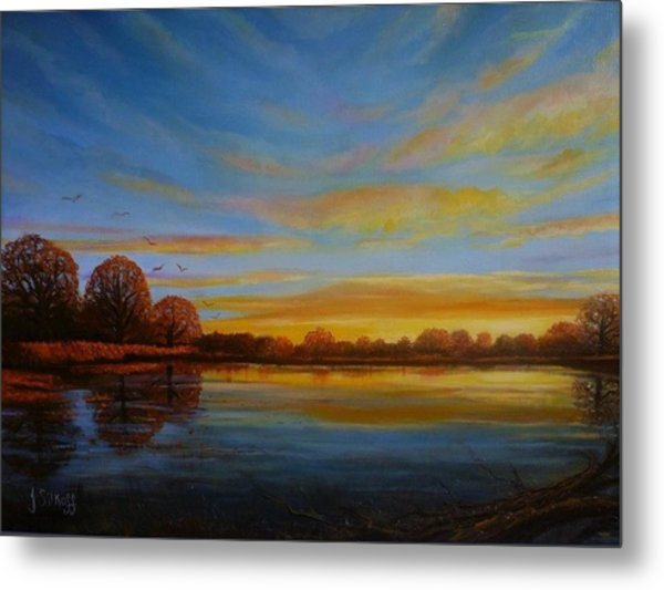 Autumn Sunrise. Metal Print by Janet Silkoff