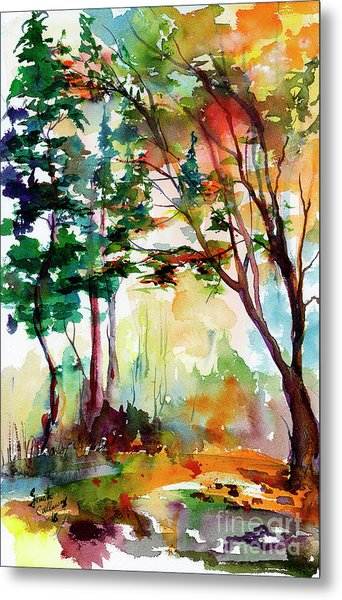 Autumn Trees Watercolors Metal Print