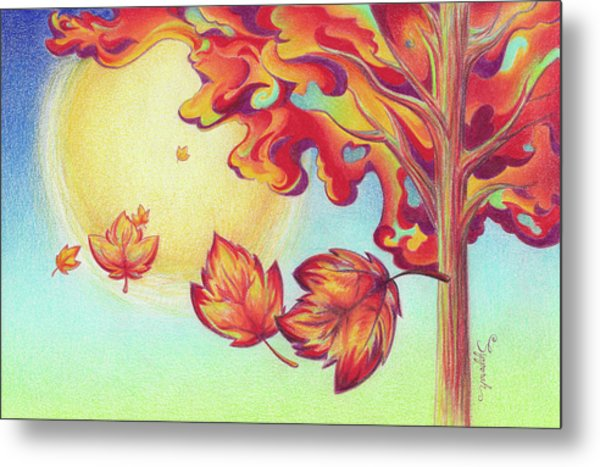Autumn Wind And Leaves Metal Print