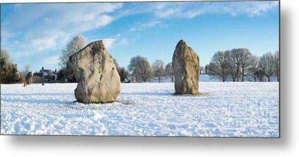 Avebury Stone Circle In The Snow Panoramic Metal Print by Tim Gainey