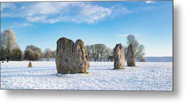 Avebury Stone Circle In The Winter Snow Metal Print by Tim Gainey