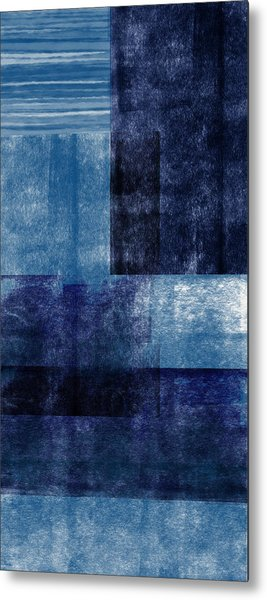 Azul Blocks 1- Art By Linda Woods Metal Print