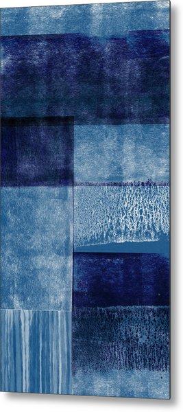Azul Blocks 2- Art By Linda Woods Metal Print