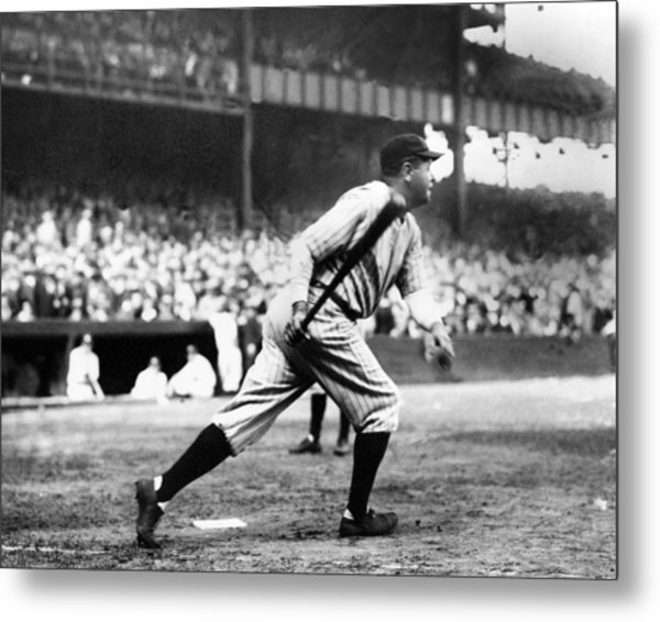 Babe Ruth Batting During The 1926 Metal Print