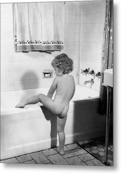 Baby Girl Climbing Into Bath Tub Metal Print