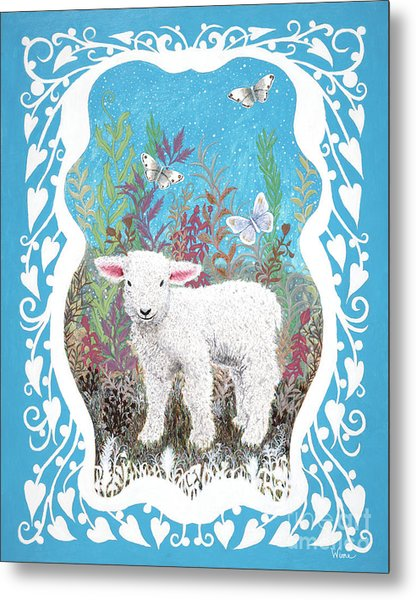 Baby Lamb With White Butterflies Metal Print
