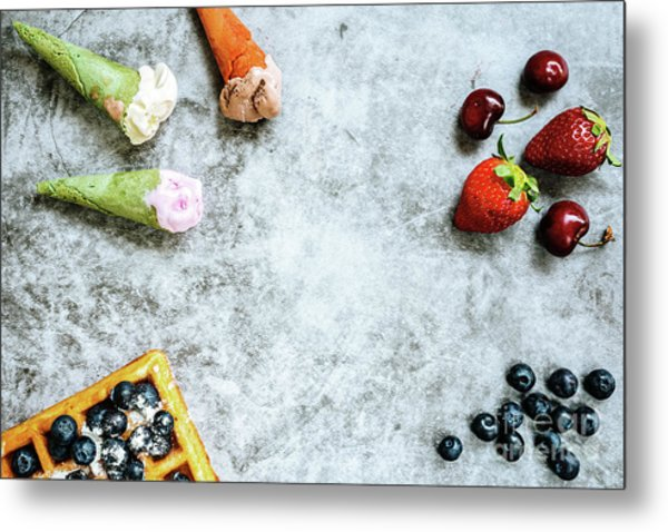 Background Of Tasty And Sweet Foods With Red Fruits And Waffles, Metal Print