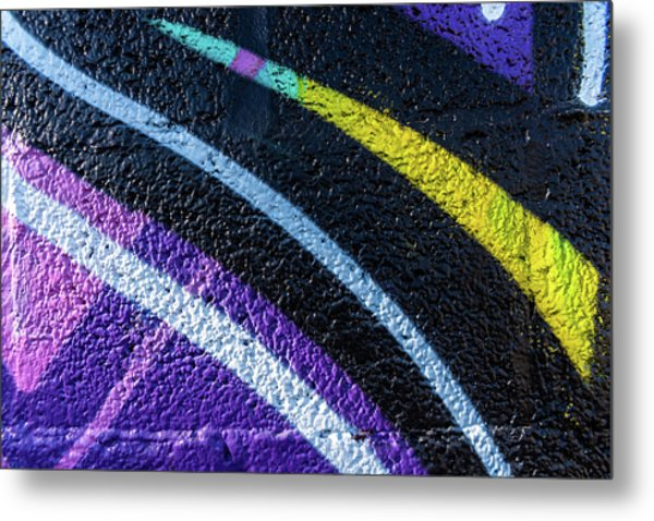 Background With Wall Texture Painted With Colorful Lines. Metal Print